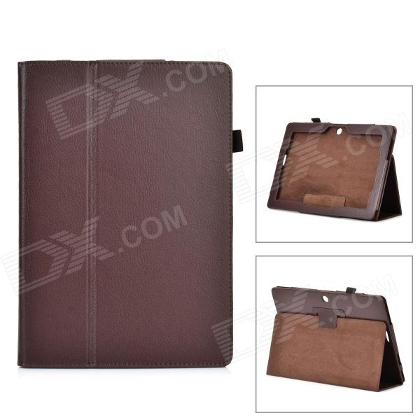 Stylish Flip-Open PU Leather Case w/ Stand for Asus ME302 - Brown flip left and right stand pu leather case for asus zenfone c zc451cg