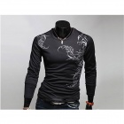 Fashionable Tattoo Pattern Long-Sleeved Round Neck T-Shirt - Black (Size-L)