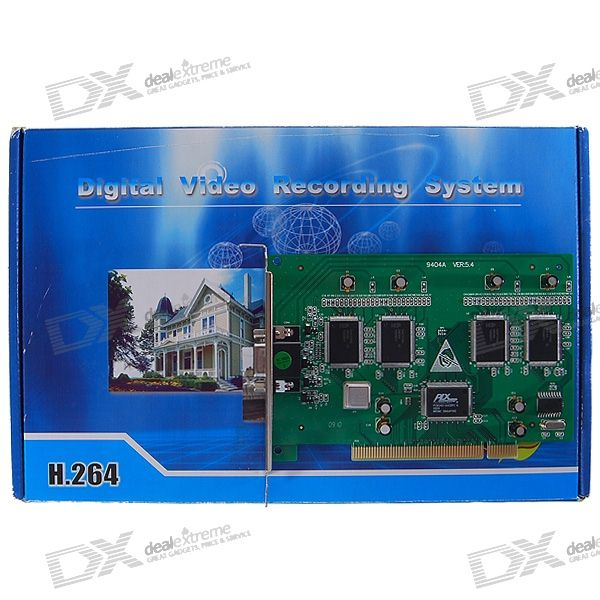 4-CH H.264 DVR Video Capture PCI Card for Security Cameras (PAL/NTSC)