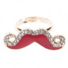 Fashionable Red Mustache Style Rhinestone Ring for Women - Golden + Red (UK Size 14)