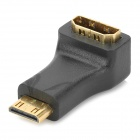 Mini HDMI Male to HDMI Female 90 Degree Right Angle Adapter - Black