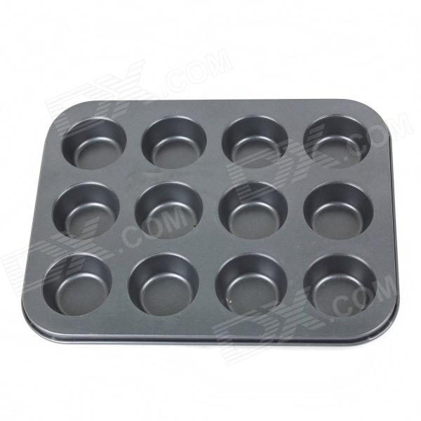 12 Hole Bread Pudding Cake Non Stick Molds - Black