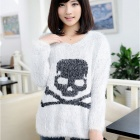 Retro Skull Pattern Long-Sleeve Women's Sweater - Black + White (Free Size)