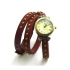 ZY-0101 Fashionable Retro Style PU leather Band Lady's Quartz Analog Wrist Watch - Red (1 x 626)