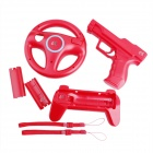 e-J YX-18 Wii Vibration Holster + Steering Wheel + Scalable Handle Grip + Battery Cover Set - Red
