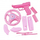 e-J YX-19 Wii Vibration Holster + Steering Wheel + Silicon Handle Case + Handle Battery Cover - Pink
