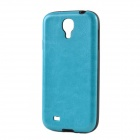 Seamless Protective PU Leather Back Case for Samsung Galaxy S4 i9500 - Blue + Black