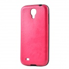 Seamless Protective PU Leather Back Case for Samsung Galaxy S4 i9500 - Deep Pink + Black