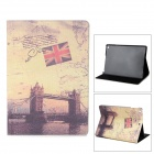 Retro London Bridge Pattern Flip-open PU Leather Case w/ Holder + Auto Sleep for Ipad AIR - Khaki
