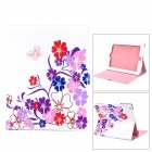 Stylish Crystal Inlaid Flower Pattern PU Leather Case w/ Holder for Ipad 2 / 3 / 4 - Multicolored