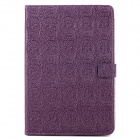 Stylish Skull Imprint Flip-open PU Leather Case w/ Holder + Auto Sleep for iPad Mini - Deep Purple