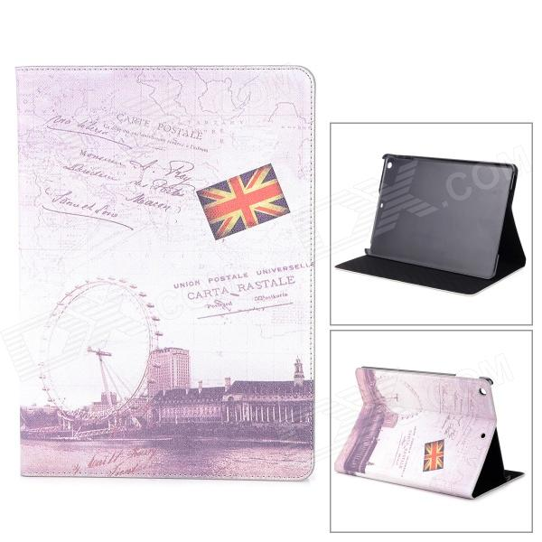 Retro London Eye Pattern Flip-open PU Leather Case w/ Holder + Auto Sleep for Ipad AIR - Khaki stylish eiffel tower pattern pu leather flip open case w stand for ipad air grey white