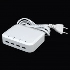 Universal 4 Female USB Output EU Plug Power Adapter - White