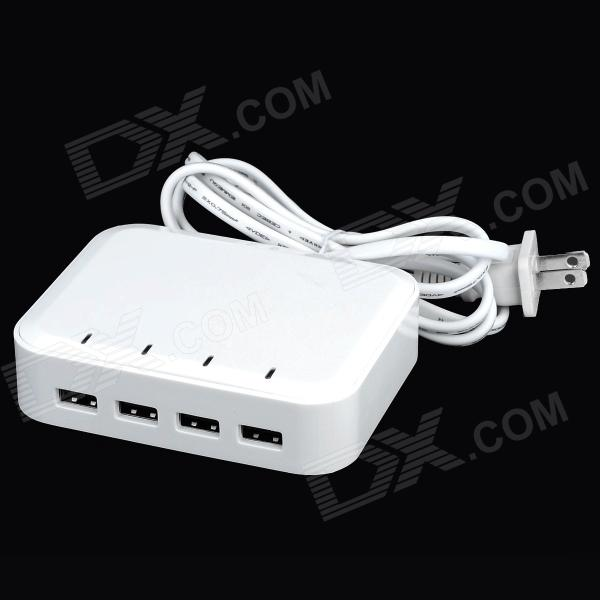 Universal 4 Female USB Output US Plug Power Adapter - White