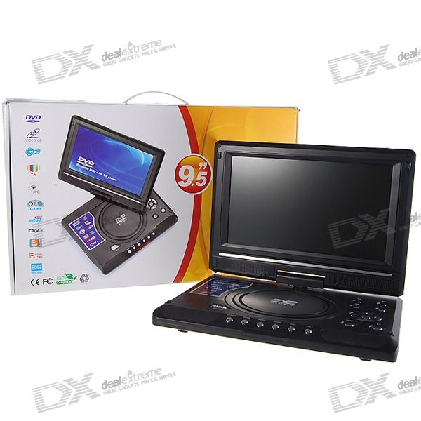 "Portable 9.5"" Wide LCD SD/USB Host/DVD/VCD Media Player with Game and TV Tuner (NTSC/PAL)"