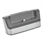 5V 2A Dual Micro USB Charging Dock Station w/ Battery Slot for Samsung Note 3 - Black + Silver