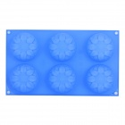6-Cup Lotus Style Silicone Cake Jelly Ice Mold - Blue