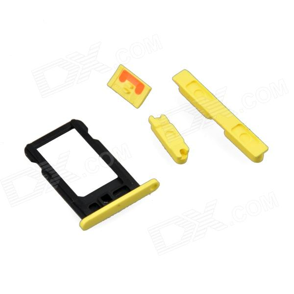 Replacement SIM Card Tray + Volume Button + Mute Button + Switch Button for Yellow Iphone5C - Yellow genuine iphone 4 repair parts replacement mute button volume button power button