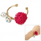 Elegant Gold plating Lady's Bracelet w/ Bird + Rose Decoration - Golden + White + Deep Pink