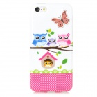 Cute Owl Family Style Protective TPU Back Case for Iphone 5C - White + Multicolor