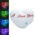 SYVIO Lovely Heart Pattern LED Seven Color Changing Thrown Pillow - White + Red (3 x AA)