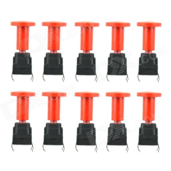 Jtron 10 x 10mm capuche imperméable Tact Switch - Rouge + noir (10 PCS)