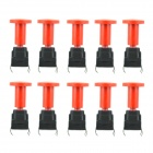 Jtron 20010016 10 x 10mm Hooded Waterproof Tact Switch - Red + Black (10 PCS)
