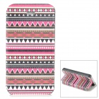 Tribal Ethnic Style Protective PU Leather + Plastic Case for Iphone 4 / 4S - Deep Pink + Black