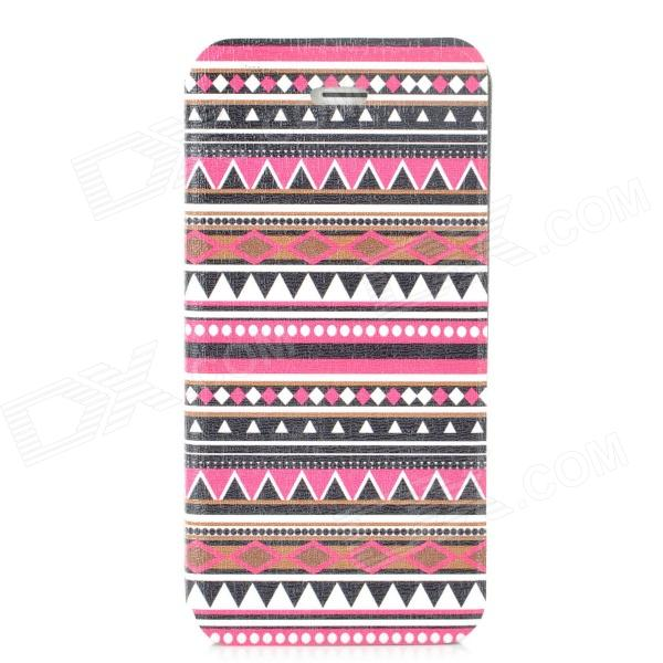 Tribal Ethnic Style Protective PU Leather + Plastic Case for Iphone 5 - Deep Pink + Black + White tribal ethnic style protective pu leather plastic case for iphone 5 deep pink black white