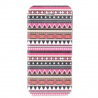 Tribal Ethnic Style Protective PU Leather + Plastic Case for Iphone 5 - Deep Pink + Black + White