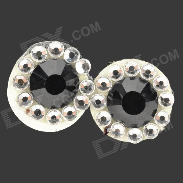 Shining Rhinestone Home Button Sticker for Iphone 4 / 4S / 5 / 5c / Ipad - Black + Silver (2 PCS) 25mm mini outdoor survival button compass black green 5 pcs