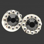 Shining Rhinestone Home Button Sticker for Iphone 4 / 4S / 5 / 5c / Ipad - Black + Silver (2 PCS)