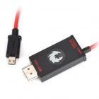 Micro USB 11pin to HDMI AV Cable + Micro USB Cable for Samsung i9500 + More - Red + Black (2m / 1m)