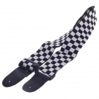 Advanced Black And White Grid Leather Head Thickened Cotton Strap for Guitar - Black + Brown