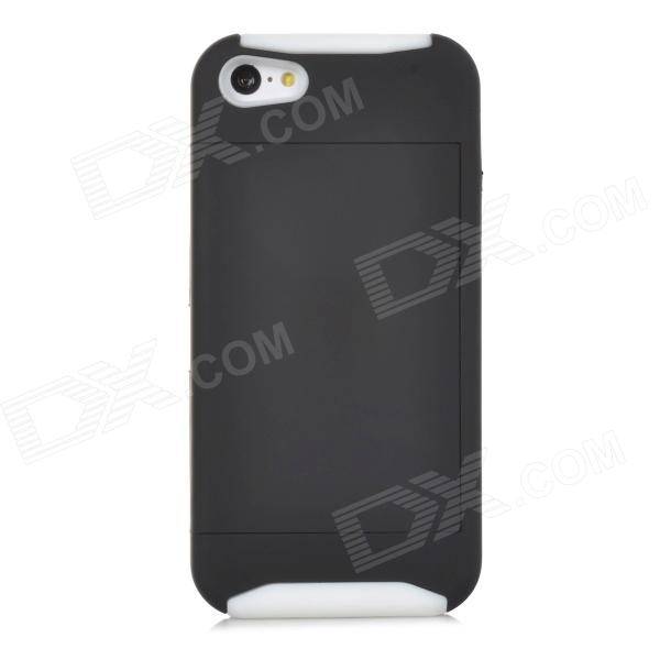 2-in-1 Protective PC + Silicone Case for Iphone 5C - Black + White 2 in 1 protective pc silicone case for iphone 5c black white