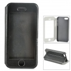 Protective PU Leather + Plastic Case w/ Display Window for Iphone 5 / 5s - Black