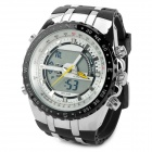 BIS-88 Water Resistant Men's Outdoor Sports Quartz Wrist Watch - Black + Silver