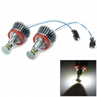 E39 10W 375LM 6500K White Light CREE XB-D LED Angle's Eye for BMW - Black + Silver (2 PCS)
