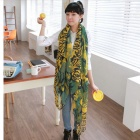 Flower Pattern Voile Scarf / Shawl for Women - Green + Yellow