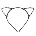 ShiYing Cat Ear Style Cloth + Rhinestone Hair Band - Black