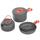 ALOCS CW-C19T Outdoor Portable 2~3 Person Cookware Picnic Pot Set - Deep Grey + Red