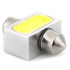 COB-31mm-2W 31mm 2W 180lm 6500K 2-COB LED White Light Car LED Bulb - Silver + Yellow (10~15V)