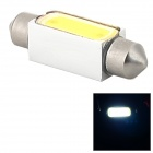 COB-39mm-3W 39mm 3W 250lm 6500K 3-COB LED White Light Car LED Bulb - Silver + Yellow (10~15V)