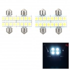2w 48lm 6000k Festoon 36mm White Light 5050 SMD LED Reading / License Plate Lamp (4 PCS)