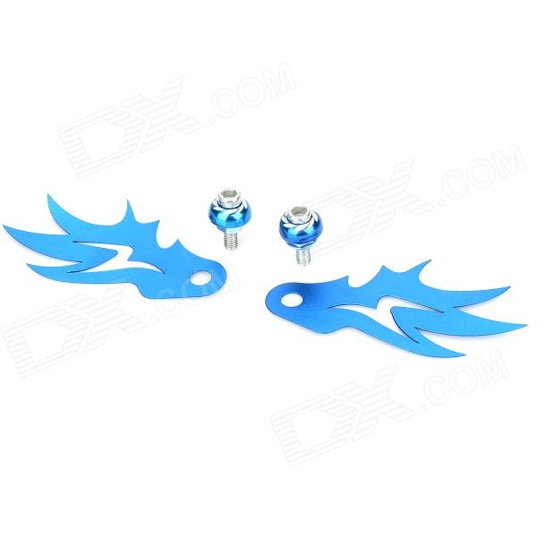 HJ27 DIY License Plate Aluminum Alloy Decorative Accessory Wing for Motorcycle - Blue (2 PCS)
