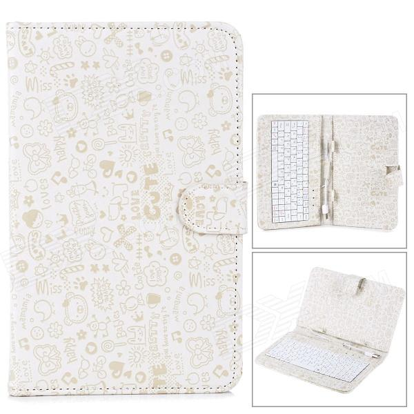 "USB 80-Key Keyboard w/ Cartoon Style Protective Case for 7"" Tablet PC - Beige + White"