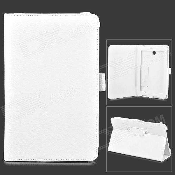 Lychee Grain Style PU Leather Case w/ Stylus Pen Holder for Asus FonePad HD 7 ME372CG - White lychee grain style protective pu leather case w card holder slots for google nexus 5 white