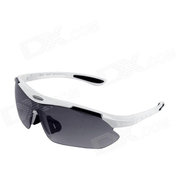 Windproof Men's UV400 Protection Outdoor Cycling Sunglasses - White + Black