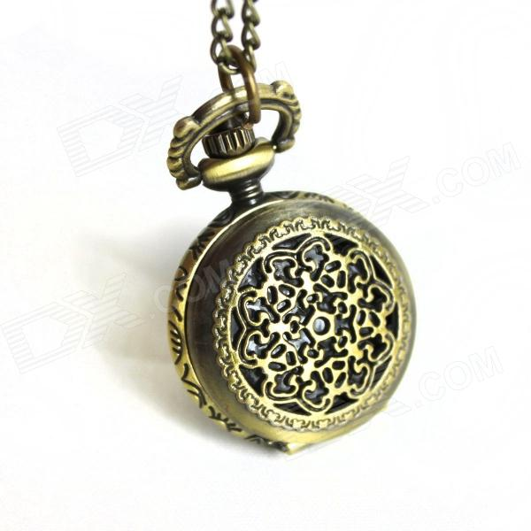 Retro Hollowed Out Embossed Lace Quartz Pocket Watch - Bronze (1 x 377)