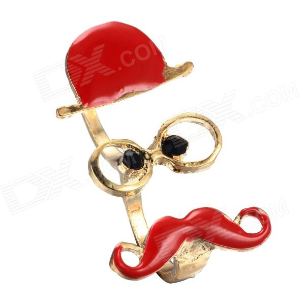 eQute RPEW2C4 Vintage Moustache Face Book Ring Dual-Ring Women's Finger Ring - Red + Golden